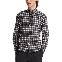 Brooklyn Tailors Plaid Cotton Flannel Shirt Gray