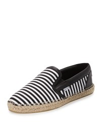 Jimmy Choo Vlad Men's Striped Espadrille Slip On Sneaker Black White
