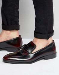 Asos Fringe Loafers In Burgundy Leather Burgundy Red