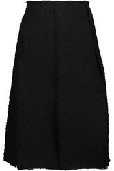 Nina Ricci Pleated Cotton Blend Tweed And Silk Georgette Skirt Black