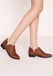 Missguided Flat Woven Detail Ankle Boot Tan Brown
