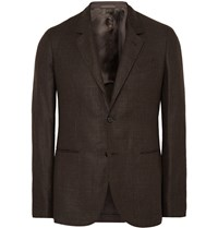 Caruso Brown Butterfly Slim Fit Linen And Wool Blend Blazer