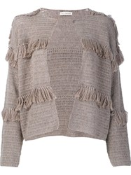 Ulla Johnson Fringed Cardigan Nude Neutrals