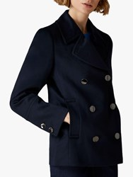 Jaeger Double Breasted Wool Pea Coat Navy