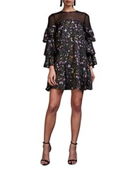Cynthia Rowley Prairie Floral Printed Three Quarter Sleeve Trapeze Dress Purple Multi