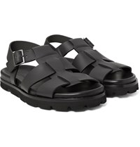 Lanvin Matte Leather Sandals Black