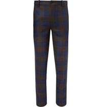 Tod's Slim Fit Checked Wool And Silk Blend Trousers Navy