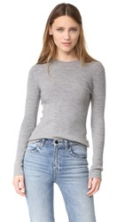 Alexander Wang Rib Knit Long Sleeve Top Heather Grey