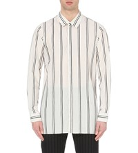 Ann Demeulemeester Striped Relaxed Fit Cotton Shirt White Black