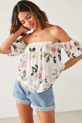 Kimchi And Blue Pia Off The Shoulder Floral Blouse Neutral Multi