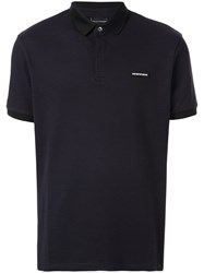 Emporio Armani Logo Patch Polo Shirt Blue