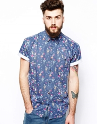 Zee Gee Why Shirt Rancho Relaxo Short Sleeve Fractured Fiesta Print Blue