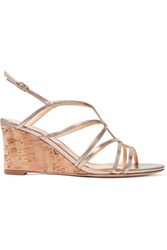 Alexandre Birman Paolla Metallic Leather Wedge Sandals Gold