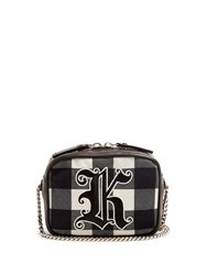 Christopher Kane Embroidered Gingham Cross Body Bag Black White