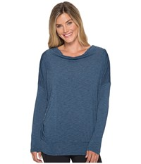 Lucy To The Barre Long Sleeve Deep Lagoon Heather Women's Long Sleeve Pullover Blue