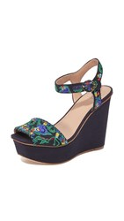 Tory Burch Sonoma Embroidered Platform Sandals Tory Navy Multi