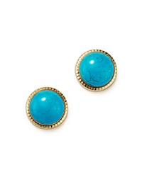 Bloomingdale's Turquoise Bezel Set Stud Earrings In 14K Yellow Gold Turquoise Gold