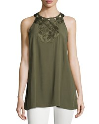 Max Studio Embroidered Neck Sleeveless Top Army