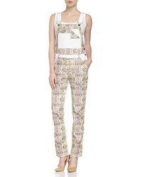 Rebecca Minkoff Button Coverall Leather Pants Natural