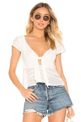 Minkpink Julep Lace Tie Front Top White