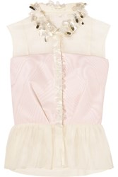 Delpozo Embellished Cotton Organza And Silk Faille Peplum Top Cream