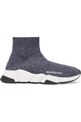 Balenciaga Speed Stretch Knit High Top Sneakers Gray
