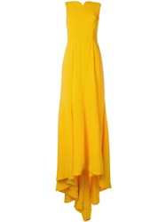 Oscar De La Renta Draped Evening Gown Yellow And Orange