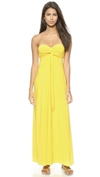 Tbags Los Angeles Strapless Knotted Maxi Dress Yellow