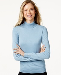 Charter Club Long Sleeve Turtleneck Sweater Only At Macy's Cloudy Blue