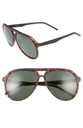 Polaroid Men's Eyewear 59Mm Aviator Sunglasses Matte Havana Green Matte Havana Green