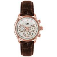 Rotary Gs02879 06 Men's Monaco Rose Gold Plated Leather Strap Watch Brown White