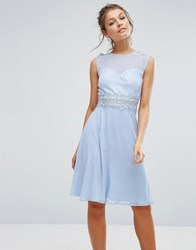 Elise Ryan Sweetheart Midi Dress With Lace Bodice Blue
