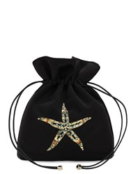 Les Petits Joueurs Trilly Satin And Crystal Sea Star Clutch Black