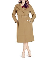 City Chic Classic Belted Trench Coat Caramel