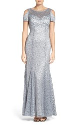Morgan And Co. Women's Cold Shoulder Lace Gown Platinum White