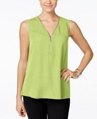 Inc International Concepts Sleeveless Zippered Knit Back Top Only At Macy's Sunny Lime