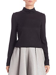 Abs By Allen Schwartz Long Sleeve Cropped Turtleneck Black