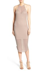 Painted Threads Women's High Neck Illusion Body Con Dress Neutral