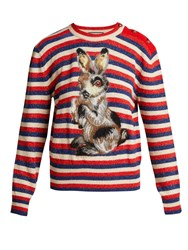Gucci Striped Wool And Mohair Blend Rabbit Sweater Blue Multi