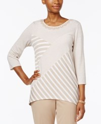 Alfred Dunner Patchwork Beaded Neck Top Stone