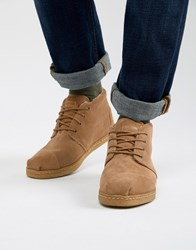 Toms Bota Shearling Boots In Beige Suede