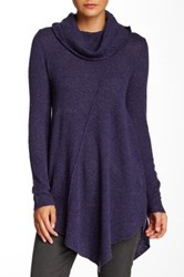 Cullen Seam Detail Asymmetrical Cowl Neck Cashmere Sweater Purple