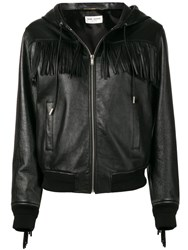 Saint Laurent Fringed Hooded Jacket Black