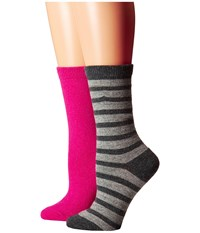 Kate Spade Cashmere Stripe Sparkle Gifting 2 Pack Crew In Box Grey Heather Women's Crew Cut Socks Shoes Gray