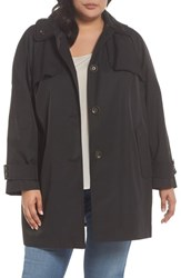 London Fog Plus Size Women's Removable Hood Rain Jacket Black