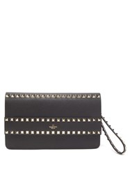 Valentino Rockstud Smooth Leather Wristlet Clutch Black