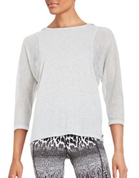 Betsey Johnson Mesh Batwing Athletic Top Light Grey