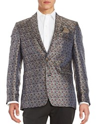 Tallia Orange Floral Patterned Blazer Navy