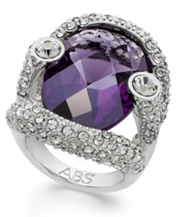 Abs By Allen Schwartz Ring Silver Tone Faceted Purple Stone Pave Crystal Ring
