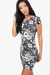 Boohoo Charly Floral Cap Sleeve Bodycon Dress Multi